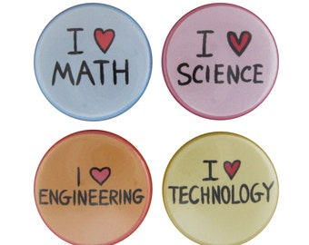 STEM Set of 4 Pinback Buttons - Science, Technology, Engineering, Mathematics