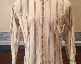 1990s Outdoorsy Button Down - Mens Woodland Long Sleeve Shirt size Medium from Eddie Bauer - Button Collar - Rustic - Cream - Striped
