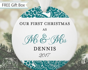 Mr and Mrs Our First Christmas Ornament Personalized Wedding Ornament Personalized Wedding Gift - Majestic Pattern - Item#OR1706