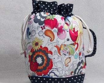 Bananas and Bunnies Large Drawstring Project Bag