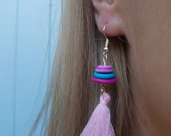 ClayCo Multi colour stacked disc polymer clay earrings