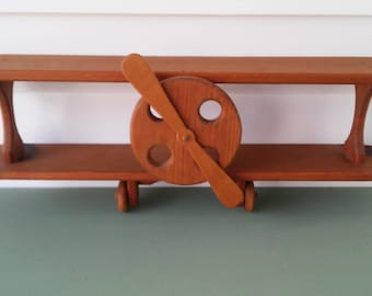 A Vintage 1980's, Bi Plane Wood Child's Room Airplane Shelf Wall Hanging