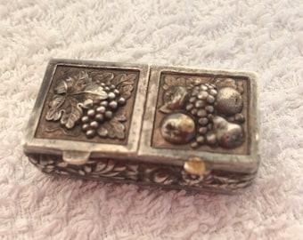Vintage metal tin engraved box pill box