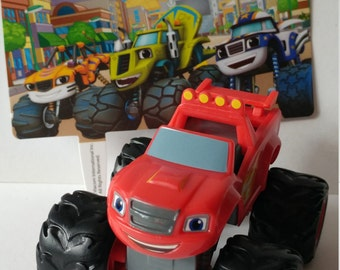 BLAZE and the Monster Machines CAKE TOPPER birthday party favors Nick Jr Nickelodeon Stripes Darington Zeg racing race wheel monster truck
