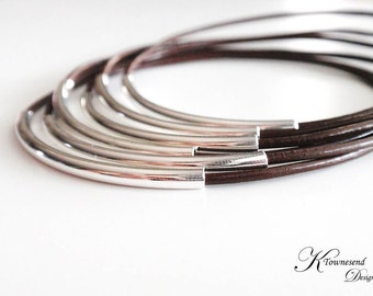 Brown Leather Bangle Bracelet, Leather Bracelets for Women, Leather Jewelry, Silver Bangle, Bangle Set, Bohemian Jewelry, Boho Jewelry,