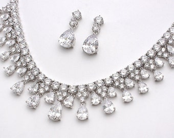 Jayne - Bridal Necklace And Earrings Set, Wedding Necklace, Bridal Jewelry, Cubic Zirconia Crystal Necklace, CZ Earrings, Jewelry Set