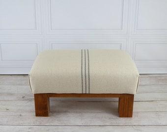 Grain sack ottoman - grain sack furniture - small footstool farmhouse - low footstool - wood foot stool - farmhouse furniture