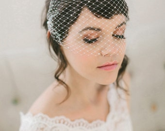Pearl Studded Birdcage Veil, Bandeau Birdcage Veil with Pearls #715V