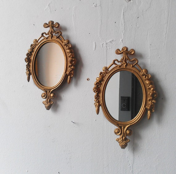 Mirrors Small: Small Vintage Gold Mirrors Hollywood Regency Paris Bedroom