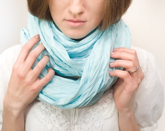 womens gift linen scarf aqua scarf washed linen scarf 100% linen scarf