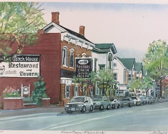 Wall Art of Rhinebeck New York, print from original oil painting of famous town, gift priced framable art