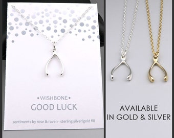 Wishbone Necklace - good luck - silver or gold - lucky wishbone - luck jewelry - good luck gift