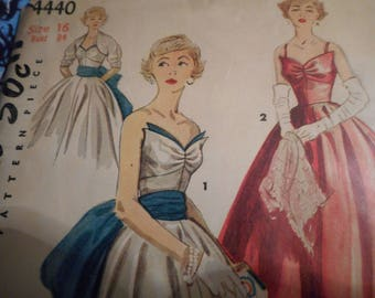 Vintage 1950's Simplicity 4440 Evening Dress and Bolero Sewing Pattern Size 16 Bust 34