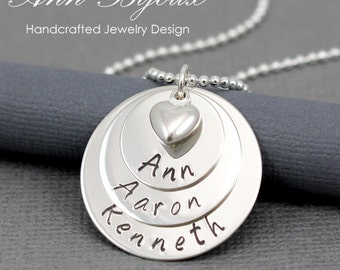 Hand Stamped Mommy Jewelry, Personalized Layered Family Name Necklace, Customized 3 Layer Name Necklace, Mom Necklace, Grandma Gift, N022
