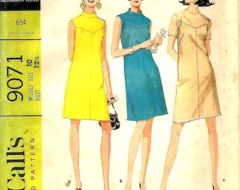 McCall's 9071 Misses Lightly Fitted, Yoked Dress Pattern, In Two Versions, Size 10, Bust 32 1/2, UNCUT