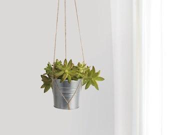 Modern hanging planter, natural beige jute hanger and gray galvanized metal plant pot holder for succulent | Unique Christmas Gift Ideas