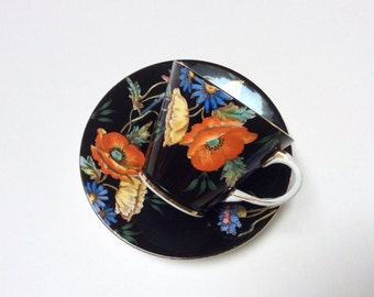 Vintage Aynsley Bone China Teacup and Saucer, Aynsley Bone China England, Black Aynsley Teacup with Handpainted Flowers, 1930s