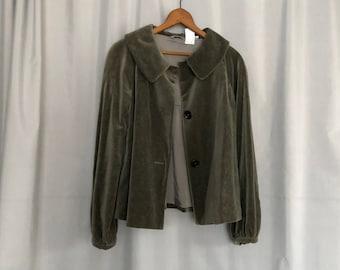 Green Velvet Jacket Vintage Made in Italy