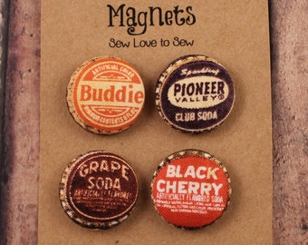 Fabric Covered Button Magnets / Bottle Caps Magnets / Strong Magnets / Refrigerator Magnets / Fridge Magnets