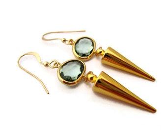 Minimalist Gold Spike Earring Spike Earrings Cone Geometric Shape Modern Earring Everyday Simple Earring Gray Summer Spring Trends Gift Idea