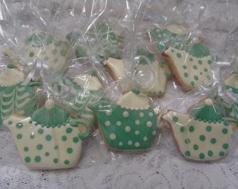 Wedding, Birthday, Shower Favor Decorated Vanilla Teapot Sugar Cookies - 1 dozen