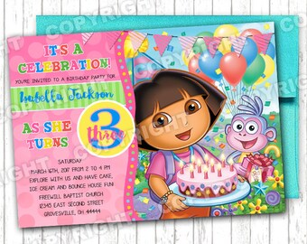 10 Adorable DORA THE EXPLORER Inspired Pink and Teal Colorful Polka Dot Birthday Party Invitations Any Age