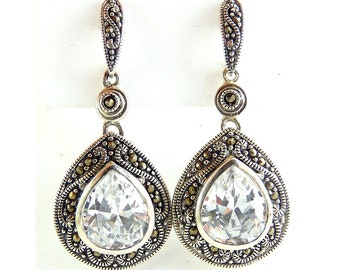 Large Sterling Silver CZ Pear Drop Earrings with Marcasites, Wedding Jewelry