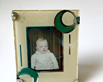 Glass Art Deco Painted Picture Frame