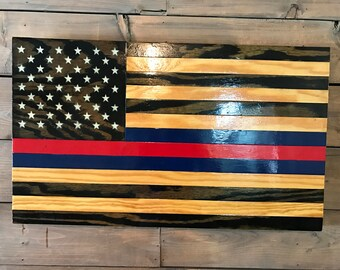 Semper Fi - American Flag -Military Veteran Made -Wood Flag -Patriotic Marines -Handmade -Wall Decor -Blood Stripe -Rustic -Wall Art
