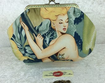 Mermaids small frame handbag purse bag fabric clutch shoulder bag frame purse kiss clasp bag Handmade Alexander Henry Sea Sirens