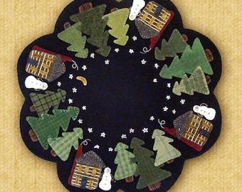 Winter Cabin Table Mat Pattern  - Wool Applique Pattern - Table Mat Winter Decor PRI-499