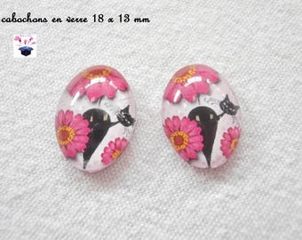 2 cabochons glass 18mm x 13mm Daisy cat theme