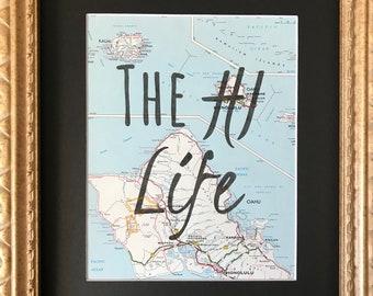 The HI Life- vintage map art- Hawaii