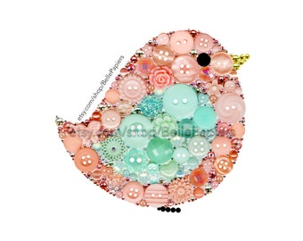 Nursery Birds Button Art PRINT Baby Bird Mint and Coral Colors Small Birdie Button Wall Hanging Framed Nursery Decoration Cute Bird Painting