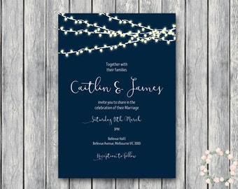 Personalized Night String Lights Wedding Invitation, Navy Blue Sky, Night Lights Engagement Party Invite, Bridal Shower Invitation TH65 WI41
