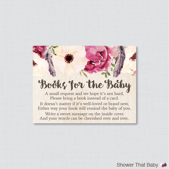 Boho Baby Shower Printable Bring A Book Instead Of A Card