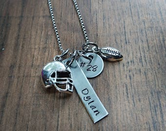 Hand Stamped Personalized Football Necklace - Football Mom Necklace - Football Mom Gift - Boys Football Gift - Team Mom Gift