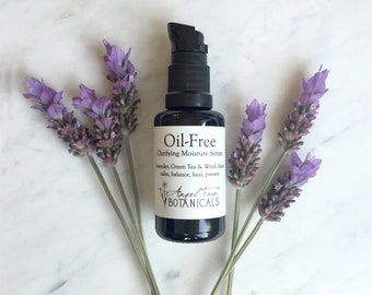 Oil-Free Clarifying Moisture Serum, Organic Facial Serum with Green Tea, MSM, DMAE, and Hyaluronic Acid, Lavender Serum for Oily Skin