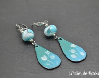 Blue earrings, glass earrings, glass art earrings, glass bead earrings, unique earrings, lampwork earrings, beadwork earrings, drop earrings