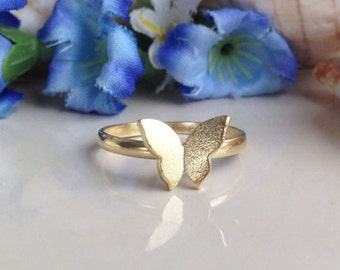 20% off-SALE! Butterfly Ring - Stacking Ring - Gold Ring - Slim Band - Stack Ring - Stackable Ring - Delicate Ring - Tiny Ring - Simple Ring
