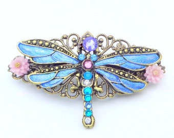 Dragonfly Garden, Flower Barrette, Crystal Barrette,Flower Hair, Wedding Jewelry,Filigree Barrette,Crystal Hair Jewelry, Hair Art Barrette