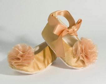 Gold Baby Shoe, Satin Flower Girl Shoe, Toddler Ballet Slipper, 25 color, Baby Ballet Flat, Girl Spring Wedding, Crib shoe, Baby Souls Shoes
