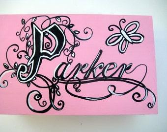 hand painted keepsake box ,girls box, personalized gift,customized,pink,black ,butterflies, flowers,kids memory box, children's boxes, baby