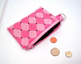 Pink Argyle Coin Purse