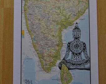 Map artwork- India- illustrated map - Original Zentangle and Mandala inspired drawing.
