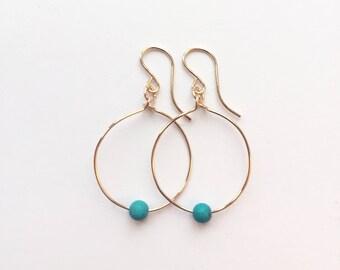 Karma Small Hoop Earrings - Turquoise