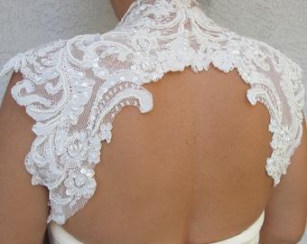 Wedding Bridal Ivory Beaded Lace Keyhole Back Bolero Shrug Jacket. Made to order.