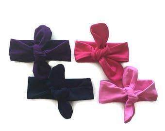Knot Headband, Girl's headband, adjustable headband, baby headband, fabric headband, solid color headband, tie headband