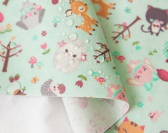 Cute Animals Laminated Cotton Fabric - Mint - By the Yard 92576