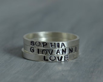 Hand Stamped Jewelry Hand Stamped Ring Stacking Sterling Silver Personalized Name Ring Initial Ring